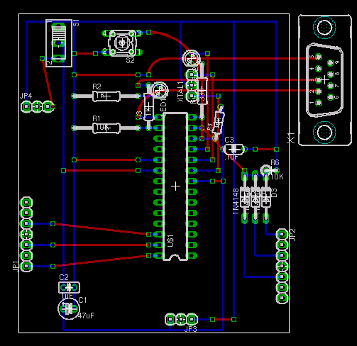 PCB layout of Steve Atwood's LogoBoard