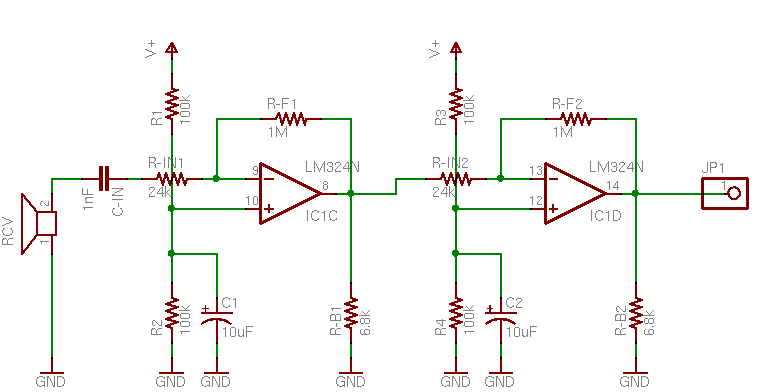 Ultrasonic Receiver Amplification Schematic