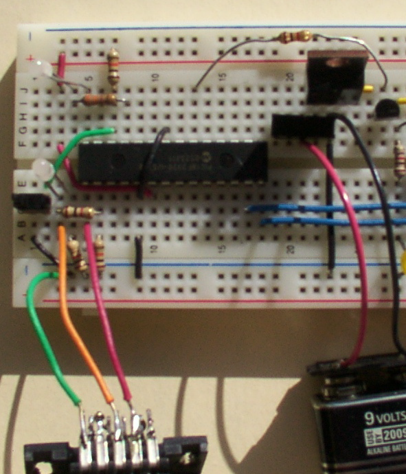 LogoChip and 7805 Voltage Regulator on Breadboard