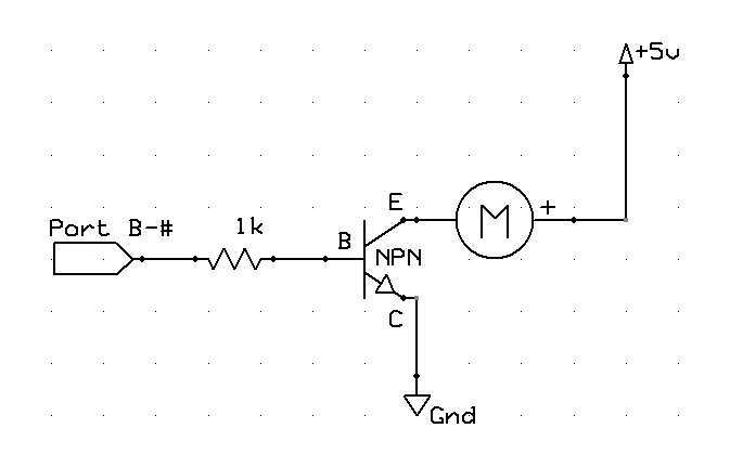 Motor Driven from PIC Port, NPN Transistor Driver