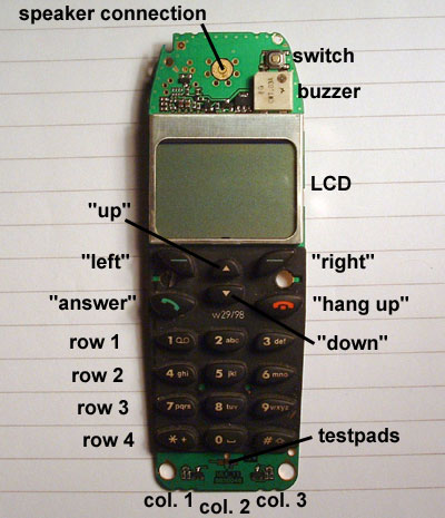 Nokia cell phone display and keypad board