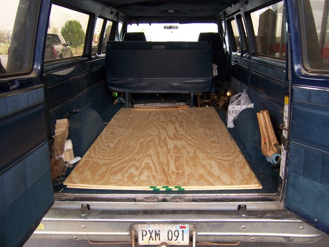 Plywood in the Back of the Van
